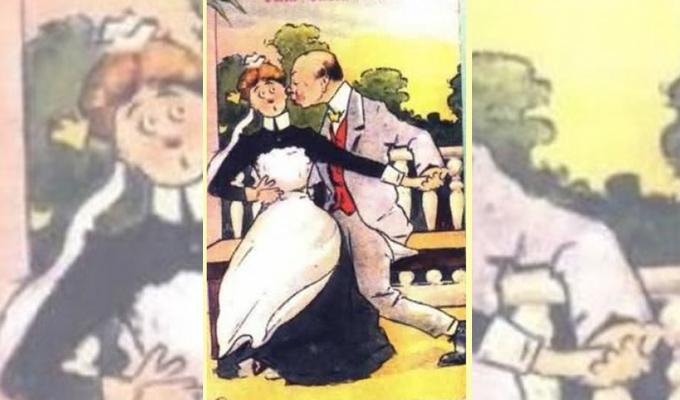 A férj inzultálja a szobalányt! - Látod a dühös feleséget a képen?